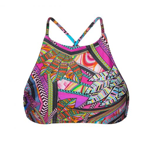 Multicoloured surf style cropped bathing top - SOUTIEN SAMARCANDA SPORTY