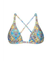 Printed scarf bikini top with crossover back - SOUTIEN SARI COOL LACINHO