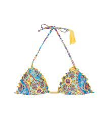 Triangle top with wavy edges and yellow tassel - SOUTIEN SARI FRUFRU