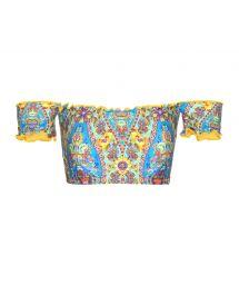 Bardot off-shoulder bandeau top with wavy edges - SOUTIEN SARI OFFSHOULDER