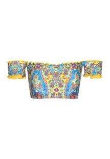 Bardot off-shoulder bandeau top with wavy edges - SOUTIEN SARI OFFSHOULDER