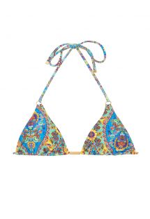 Retro stili, çiçek desenliüçgen bikini üstü - SOUTIEN SARI TRI FIO