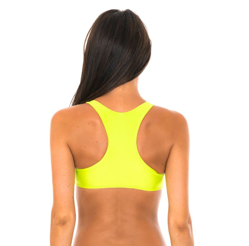 Lime coloured racer-back bikini crop top - SOUTIEN SPORTY ACID