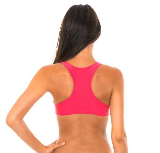Swimmer back crop top deep pink bikini top - SOUTIEN SPORTY FRUTILLY