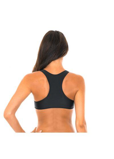 Swimmer back crop top black bikini top - SOUTIEN SPORTY PRETO