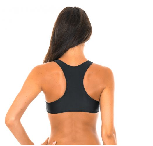 Swimmer back crop top black bikini top - SOUTIEN SPORTY PRETO