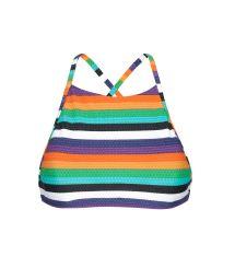 Colourful striped bikini crop top - SOUTIEN TEPEGO SPORTY