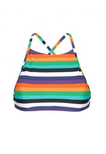 Colourful striped bikini crop top - SOUTIEN TEPEGO SPORTY