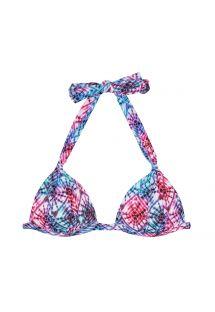 Tie dye tweekleurig driehoekig bikinitopje met voorgevormde cups - SOUTIEN TIEJEAN BASIC