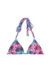 Lyserød/blå trekant bikini-top med batikmønster og frynser - SOUTIEN TIEJEAN BOHO