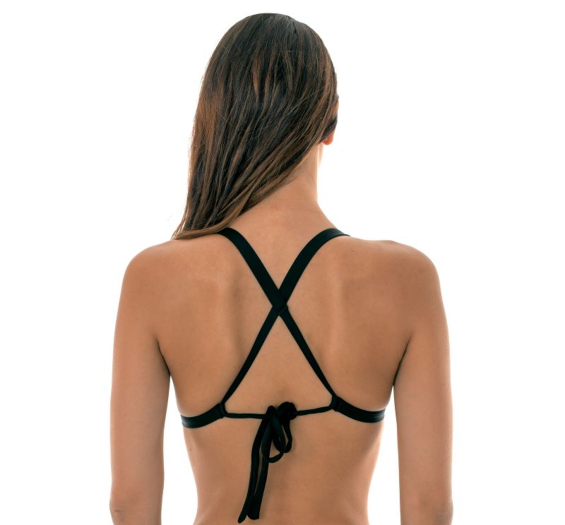 Black triangle bikini top with a crossed back - SOUTIEN TRIANGULO PRETO