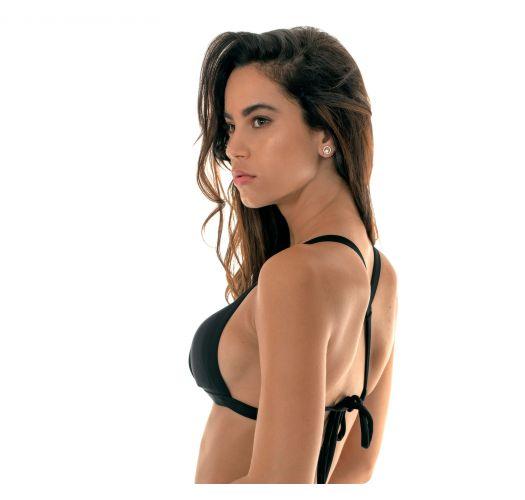 Black triangle bikini top with a crossed back - SOUTIEN TRIANGULO PRETO