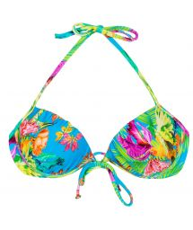 Tropical floral push-up top with underwiring - SOUTIEN TROPICAL BLUE BALCONET