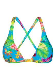 Tropical floral non-adjustable halter triangle top - SOUTIEN TROPICAL BLUE CORTINAO