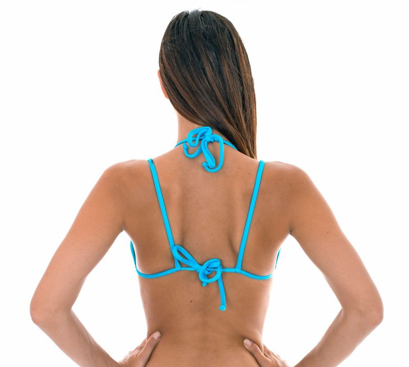 Triangle bikini top in tropical flower print with double straps - SOUTIEN TROPICAL BLUE DUO