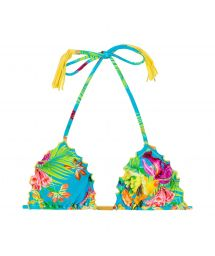 Tropical triangle bikini top with fringed yellow pompons - SOUTIEN TROPICAL BLUE FRUFRU