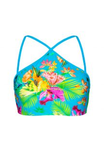 Tropical print crop bikini top with blue straps - SOUTIEN TROPICAL BLUE NECK