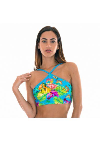 Tropical print crop bikini top with blue straps - SOUTIEN TROPICAL BLUE NECK