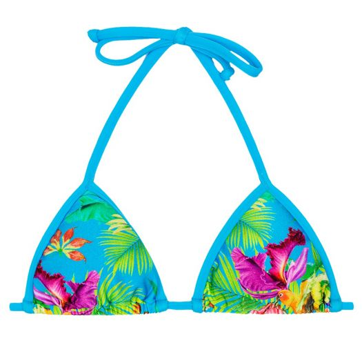 Triangle bikini top in tropical flower print with blue straps - SOUTIEN TROPICAL BLUE TRIANGULO