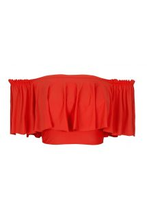 Orangey-red bandeau top with wide frills - SOUTIEN URUCUM BABADO