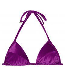 Purple velvet sliding triangle bikini top - SOUTIEN VELVET FUCHSIA