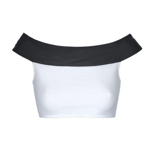 White and black cropped bikini top, Bardot neckline - SOUTIEN WHITE AND BLACK