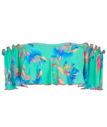 Floral turquoise off-shoulder crop top - TOP ACQUA FLORA BABADO