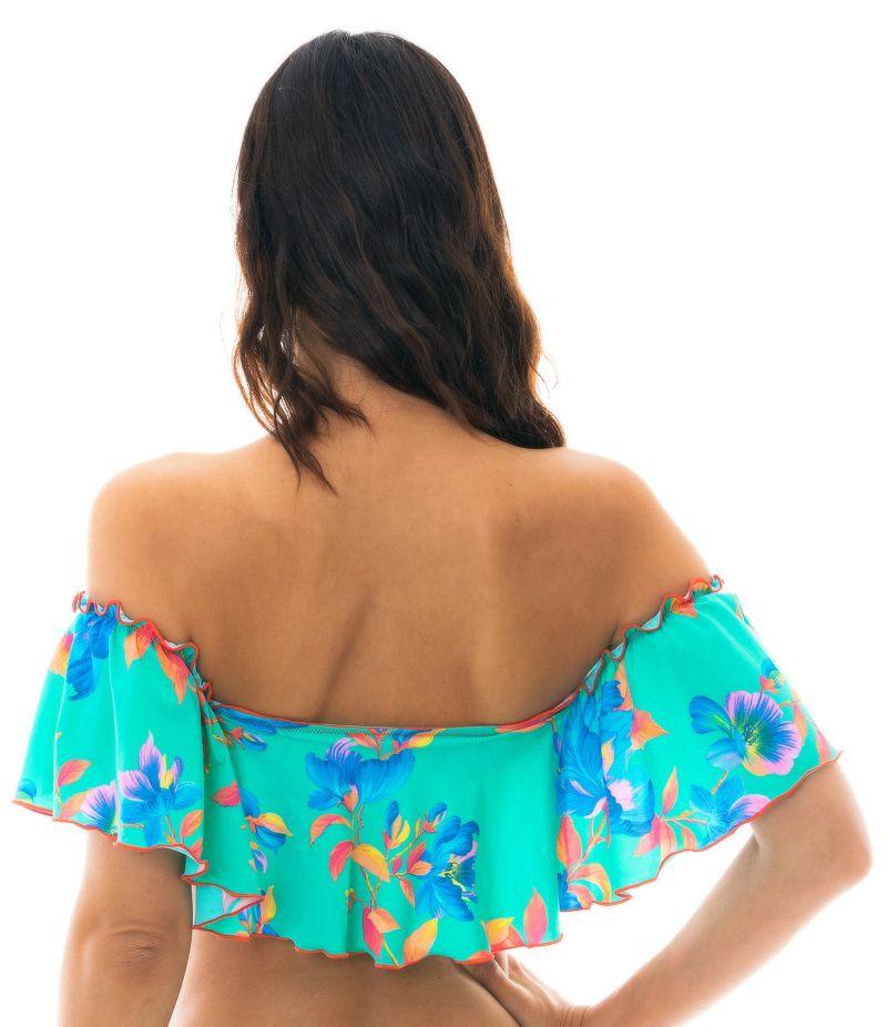Floral turquoise off-shoulder crop top - TOP ACQUA FLORA BABADO