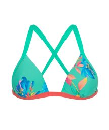 Floral green back-crossed triangle bikini top - TOP ACQUA FLORA DUO
