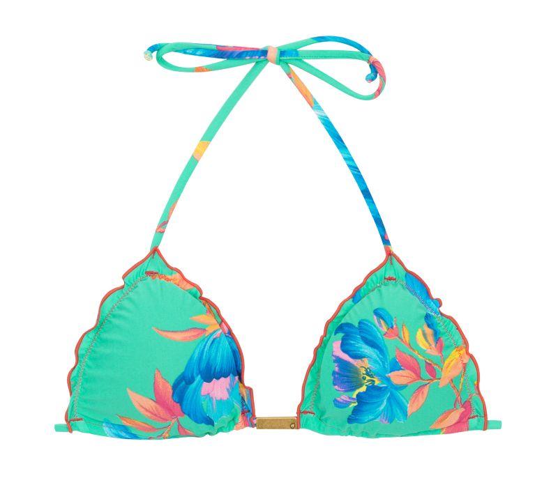 Floral turquoise triangle bikini top - TOP ACQUA FLORA FRUFRU