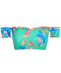 Off-shoulder turquoise crop top - TOP ACQUA FLORA OFF SHOULDER
