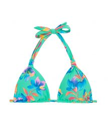Halter floral turquoise bikini top - TOP ACQUA FLORA REGULAVEL