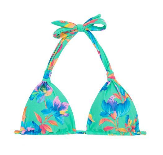 Florales türkises Bikinitop, Neckholder- TOP ACQUA FLORA REGULAVEL