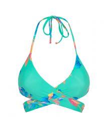 Blekgrön, blommönstrad bikini-behå med omlottknytning - TOP ACQUA FLORA TRANSPASSADO