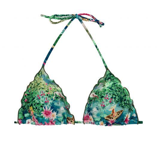Tropical green & blue bikini top with wavy edges - TOP AMAZONIA TRI