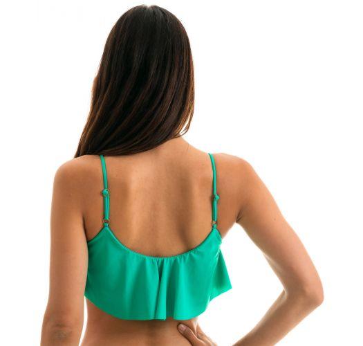 Frilled green bikini top withadjustable straps - TOP BAHAMAS BABADO