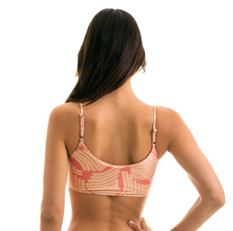 Pink banana print adjustable bikini top - TOP BANANA ROSE BRA