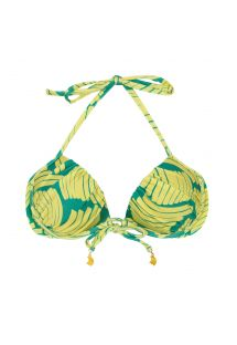 Balconette bikini top in green banana print - TOP BANANA YELLOW BALCONET
