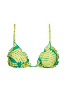 Wavy triangle top with green banana print - TOP BANANA YELLOW FRUFRU