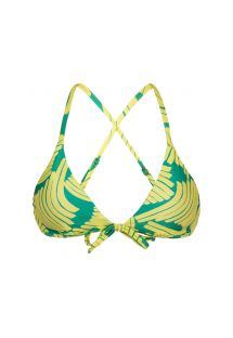 green print bra top crossed back - TOP BANANA YELLOW MICRO