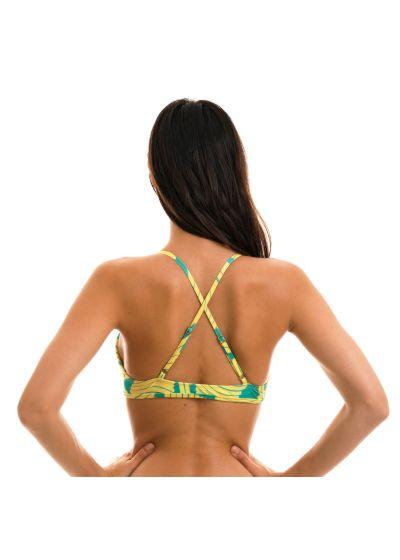 green print bra top crossed back - TOP BANANA YELLOW MICRO