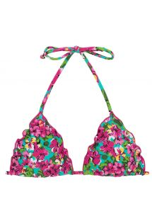 Triangle top wavy edges in colorful floral print - TOP BEACH FLOWER FRUFRU