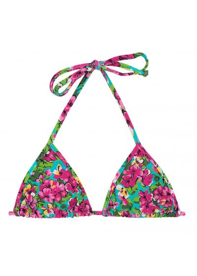 Colorful floral printed sliding triangle top - TOP BEACH FLOWER MICRO