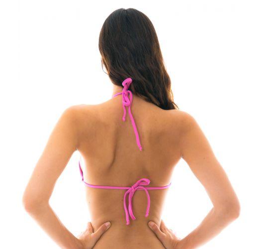 Trekanttopp i rosa med utringing og knytting - TOP BIKINI TRI
