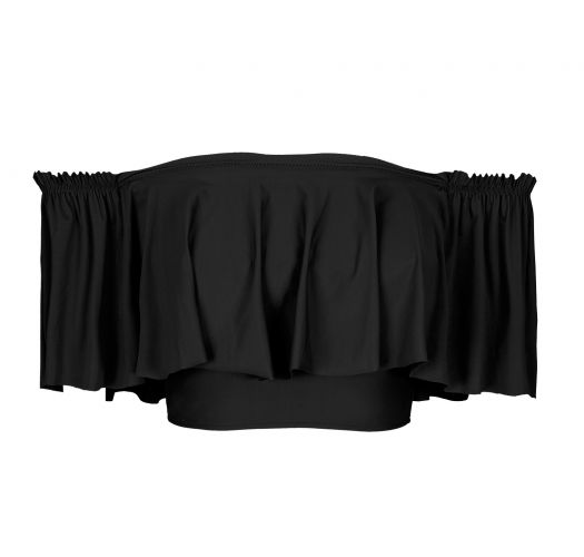 Sort off-shoulder crop bikini top med flæse - TOP BLACK BABADO