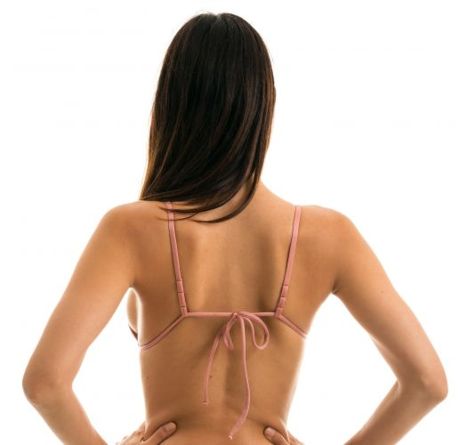Iridescent pink triangle top with brown straps - TOP CALLAS INVISIBLE