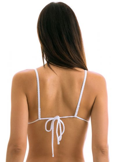 White textured triangle top with straight straps - TOP CLOQUE BRANCO CHEEKY