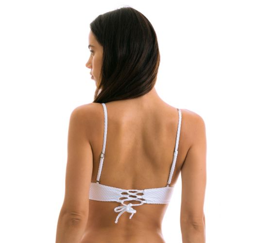 White textured longilne bralette bikini top - TOP CLOQUE BRANCO TRI COS
