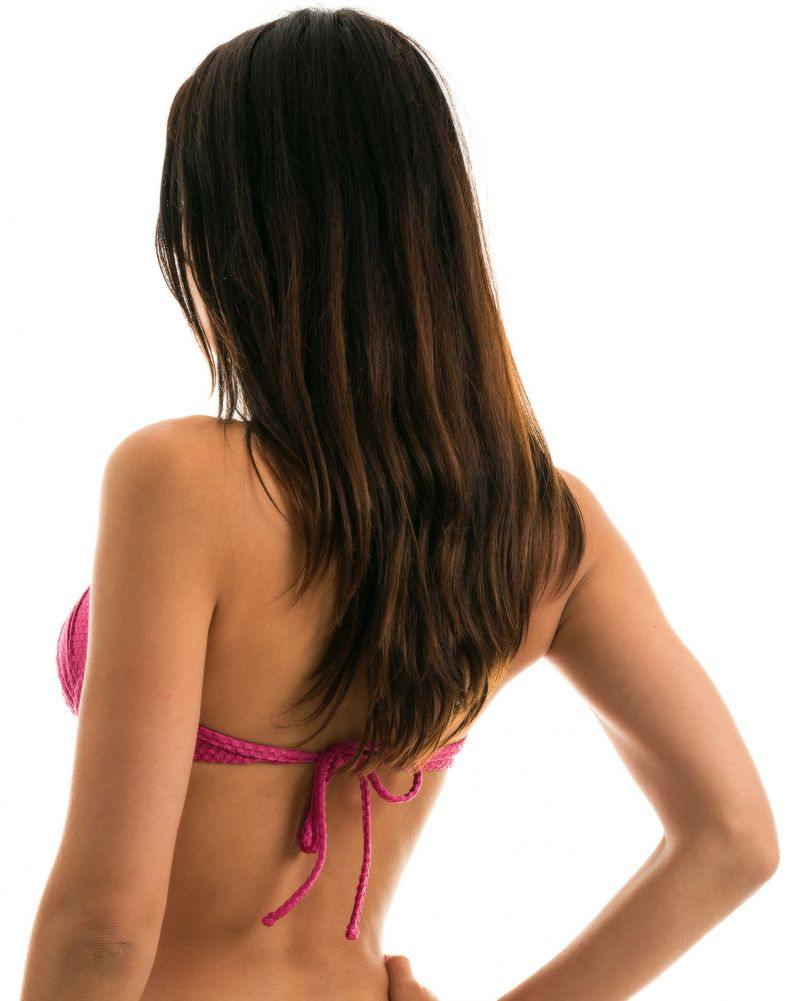 Textured fuchsia pink balconette top - TOP CLOQUE LICHIA BALCONET