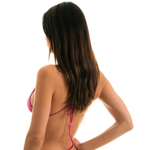 Adjustable fuchsia pink triangle top with straight straps - TOP CLOQUE LICHIA CHEEKY